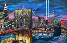 Manhattan Kinda Night by Patti Schermerhorn ~ Brooklyn Bridge NY skyline light beams former twin towers ~ acrylic oil pastels & mixed media