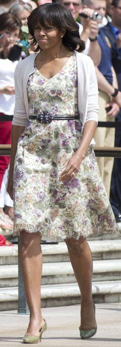 Michelle Obama wore a Peter Soronen dress. http://www.harpersbazaar.com/celebrity/red-carpet-dresses/michelle-obama-turns-fifty
