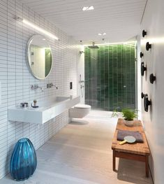 Saunders Architecture designed this bathroom in a contemporary home in Norway.