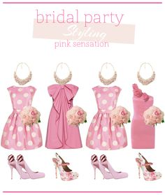 Pretty in Pink! I think this is so cute that if I would have gotten married with the pin up look this is what I would have my bridesmaids use! Super chic and cute!