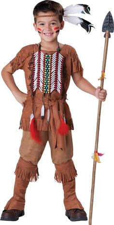 Boy's Costume: Indian Brave Child 12Tunic with fringe detail, pants, boot covers, waist sash, headpiece with feathers and beaded chest plate. Supply your own spear to complete the look.Size: 12Age Gro