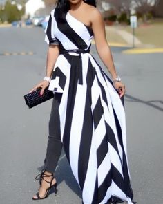 One Shoulder Contrast Striped Asymmetric Blouse Source by Amalivecolorfully Dresses for fall Striped Dress Outfit, Dress Outfits, Fashion Outfits, Formal Outfits, Grey Outfit, Dress Fashion, Women's Dresses, Casual Dresses, Casual Outfits