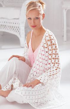 Patons Grace Crochet Floral Shawl  Light-n-lacy floral-patterned shawl / perfect for a warn summer evening.
