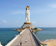Guan Yin - Sanya, China Surrounded by an spectacular landscape and a great sea view, the top of this statue stands at 108 metres from the ground.
