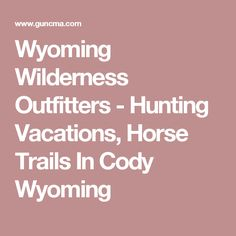 Wyoming Wilderness Outfitters - Hunting Vacations, Horse Trails In Cody Wyoming Horse Trails, Hunting Outfitters, Cody Wyoming, Wilderness, Vacations, Gun, Holidays, Vacation, Firearms