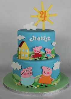 Creative Photo of Peppa Pig Birthday Cake . Peppa Pig Birthday Cake Peppa Pig Birthday Cake Lil Miss Cakes Cake Peppa Pig, Tortas Peppa Pig, Peppa Pig Birthday Cake, Frozen Birthday Cake, Round Birthday Cakes, Happy Birthday Cakes, 4th Birthday, Miss Cake, Birthday Cake Decorating