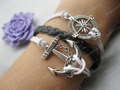 bracelet---antique silver anchor bracelet,compass bracelet,black braid bracelet---Z270. $7.99, via Etsy.