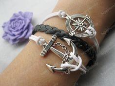bracelet---antique silver anchor bracelet,compass bracelet,black braid bracelet---Z270. $7.99, via Etsy.