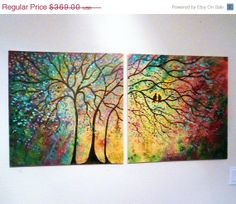 2 Day Sale- 50 % off X Large Commission Original oil  Painting modern  contemporary knife impasto impressionistic- Sunny Trees and lovebird. $184.50, via Etsy.