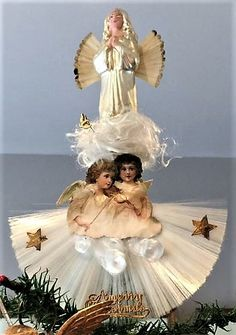 x-mas Vintage Christmas Tree Toppers, Antique Christmas, Christmas Home, Christmas Decorations, Holiday Decor, Dresden, Victorian Fashion, Fairies, Angels