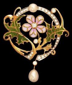 Masriera enameled gold Art Nouveau brooch.