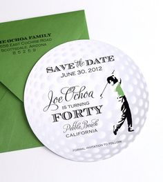 Golf Ball Style Save the Date for 40th by EmbellishedPaperie, $3.50