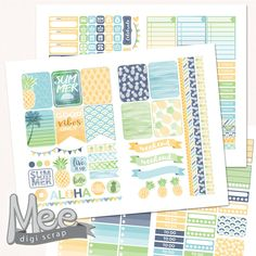 Tropical Pineapple Planner Stickers for Erin Condren, Printable planner sticker kit,summer stickers,Weekly sticker kit,silhouette cut file by MeeDigiScrap on Etsy