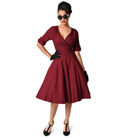 Unique Vintage 1950s Style Burgundy Red Delores Swing Dress https://www.amazon.com/gp/product/B01JN9G2PK/ref=as_li_qf_sp_asin_il_tl?ie=UTF8&tag=rockaclothsto-20&camp=1789&creative=9325&linkCode=as2&creativeASIN=B01JN9G2PK&linkId=212133c2d783d9e34cb5833baed1da2a