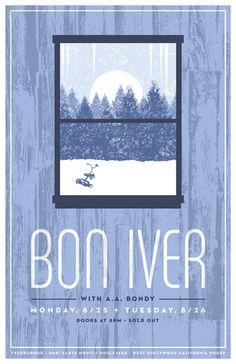 Bon Iver concert poster  at the Troubadour, Los Angeles- Aug 25/26, 2008