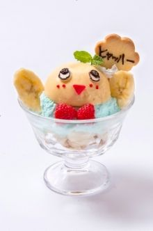 Ice cream sundae at Funassyi (ふなっしー)  Themed Café 2nd - 30th August 2014 Tokyo, Japan