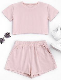 Cotton Sports Cropped Top and Shorts Suit A site with wide selection of trendy fashion style women's clothing, especially swimwear in all kinds which costs at an affordable price. Girls Fashion Clothes, Teen Fashion Outfits, Outfits For Teens, Summer Outfits, Girl Outfits, Clothes For Women, Trendy Fashion, Sport Fashion, Pajama Outfits