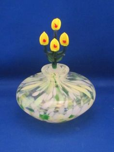 Clear Glass Perfume Bottle w/ White, Green & Yellow Accents & Calla Lily Stopper