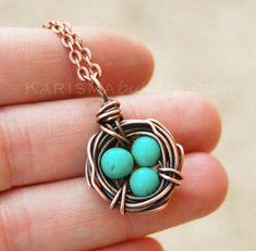 Bird Nest Necklace, Oxidized Copper, Howlite Turquoise, Wire Jewelry