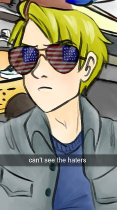 ((Oh wow Alfred. All you see is freedom and eagles with those American flag shades you've got there.))