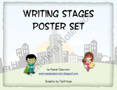 Superhero Writing Stages Posters from KawaiiClassroom on TeachersNotebook.com (7 pages)  - Superhero Writing Stages Posters, $2: These posters would be great for a superhero classroom! If you print them on card stock, hang them vertically, and put the students names on clothespins you can tell where your class is in the writing process wi