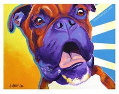 Colorful Pet Portrait Boxer Dog Art Print 8x10 by by dawgpainter, $14.00