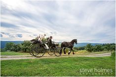 Bride and Groom go for a horse and buggy ride at Alyson's Orchard. Photo by Steve Holmes Photography