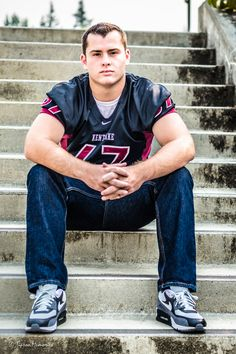 Senior pictures with a boy in his football jersey at high school. Football Cheerleaders, Football Jerseys, Memories Photography, Senior Photography, Cheerleading Pictures, Senior Boys, Poses For Men, Senior Portraits, Senior Pictures
