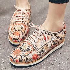 Fashionable Lace-Up and Embroidery Design Flat Shoes For Women