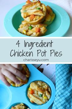 4 Ingredient Mini Chicken Pot Pies A bite sized twist to a classic comfort recipe. Make these easy individual mini chicken pot pies with just four ingredients in less than 30 minutes – it's the perfect weeknight dinner for kids and adults! Healthy Family Dinners, Healthy Toddler Meals, Family Meals, Toddler Dinners, Toddler Dinner Recipes, Healthy Kid Friendly Dinners, Easy Kids Meals, Dinner Ideas For Toddlers, Recipes