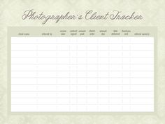 3 Free Client Tracker Worksheets for Photographers