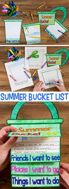 "A fun craftivity flap book where students write about all the friends they are going to see this summer, the places they want to visit, and the things they want to do. Includes eight different versions of the pages: blank, lined, blank & line, & picture frame, and two versions of the cover (with and without a sun). Each of those are with a normal block font and another ""fun"" font."