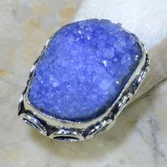 G159: NATURAL DRUZY RING, SIZE 7 3/4 Unclear what type of stone it is, possibly chalcedony