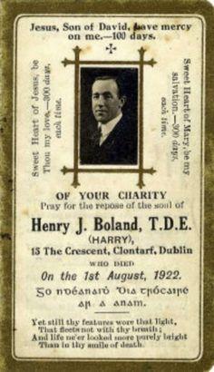 Harry Boland memorial postcard  The Collectors' Shop Blackrock, Co Dublin #postcards #vintage #antique