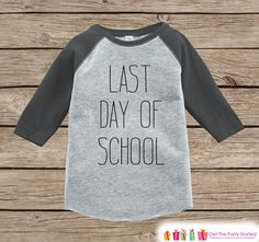 Kids Last Day of School Outfit - School Graduation - Kids Preschool or Kindergarten Shirt - Grey Raglan - Boys Last Day of School Shirt