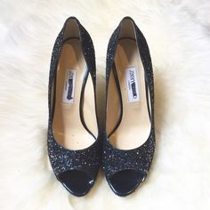 """Jimmy Choo Blue Glitter Peep Toe Heels 40.5 Gorgeous blue glitter peep toe heels. Never worn. Purchased directly from Jimmy Choo in NYC. Labels have marker mark on them. Size 40.5. 4 1/4"""" heel height.  NO TRADES. Jimmy Choo Shoes Heels"""
