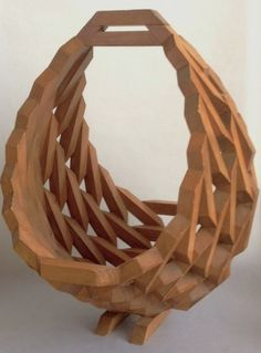 Vintage geometric wood block basket, Very intricate - Modern Wooden Garden Planters, Hanging Planters, Outdoor Planters, Woodworking Furniture, Diy Woodworking, Woodworking Videos, Hanging Flower Baskets, Wood Basket, Recycled Crafts