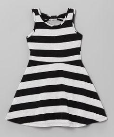Black & White Stripe A-Line Dress - Infant, Toddler & Girls