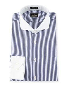 N3UJ0 Neiman Marcus Classic-Fit Non-Iron Striped Dress Shirt, Blue/White