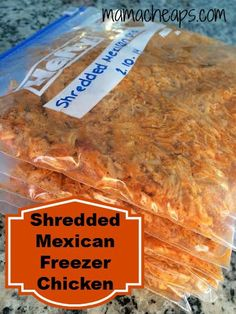 Slow Cooker Freezer Meal: Shredded Mexican Chicken Recipe I'm using Instant Pot. Chicken Freezer Meals, Slow Cooker Freezer Meals, Freezer Cooking, Slow Cooker Recipes, Crockpot Recipes, Cooking Time, Weight Watchers Freezer Meals, Weight Watcher Dinners, Mexican Chicken Recipes