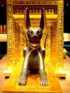 guarding Tutankhamen's coffin