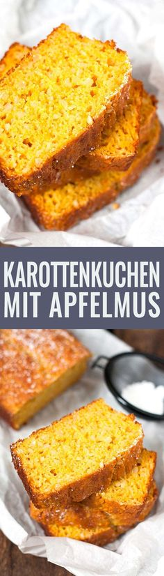 Saftiger Karottenkuchen mit Apfelmus und ohne Fett. Super einfach und SO gut - Kochkarussell.com
