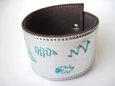 Silver Metallic Leather Cuff With Teal Lightning Bolt by maycily, $20.00
