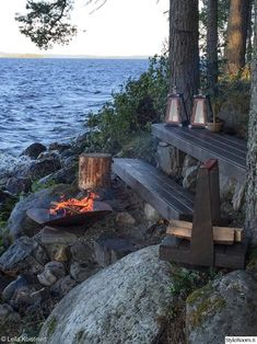 A Fire pit by the sea/ mökki,nuotiopaikka,nuotio Outdoor Spaces, Outdoor Living, Outdoor Decor, Lakeside Living, Summer Cabins, Haus Am See, Cottage, Cabins In The Woods, Belle Photo