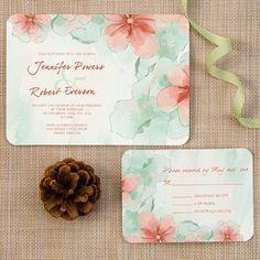 elegant spring mint green and peach flower watercolor ticket shape wedding invitations EWIr377 as low as $1.04