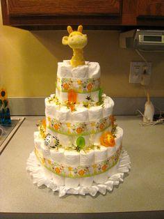 Zoo animal diaper cake