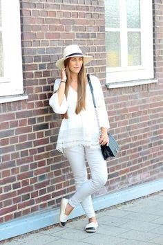 river island hat, revolve clothing top, zara pants, chanel bag, chanel espadrilles