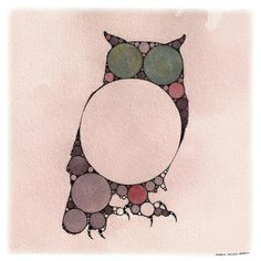 Fractal Owl Art Print — geometric, purple, pink