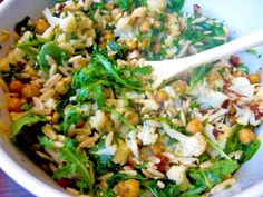 The Fresh Direction: Summer Orzo Salad with Roasted Cauliflower and Chickpeas