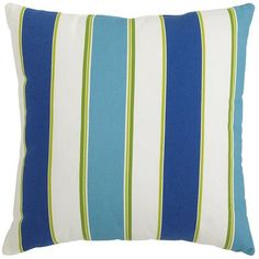 Abella Stripe Pillow - Cool-Pier One Boy Girl Room, Porch Makeover, House Deck, Deck Furniture, Furniture Ideas, Nautical Home, Living Room Remodel, New Living Room, Blue Pillows
